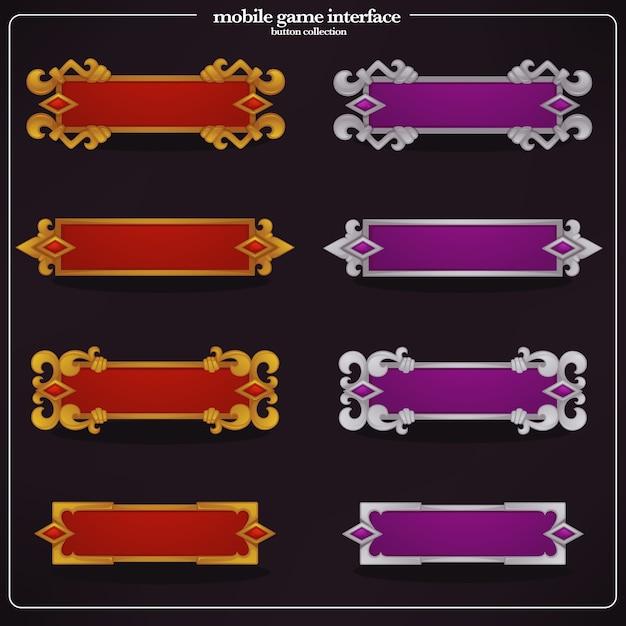 カジュアルなモバイルゲーム用のインターフェイス要素、テキストボックス、バナーのコレクション Premiumベクター