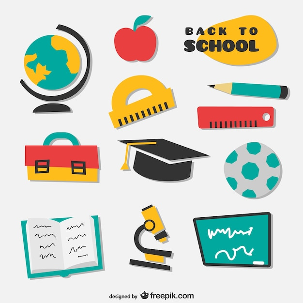 Collection of irregular drawn school icons  Free Vector