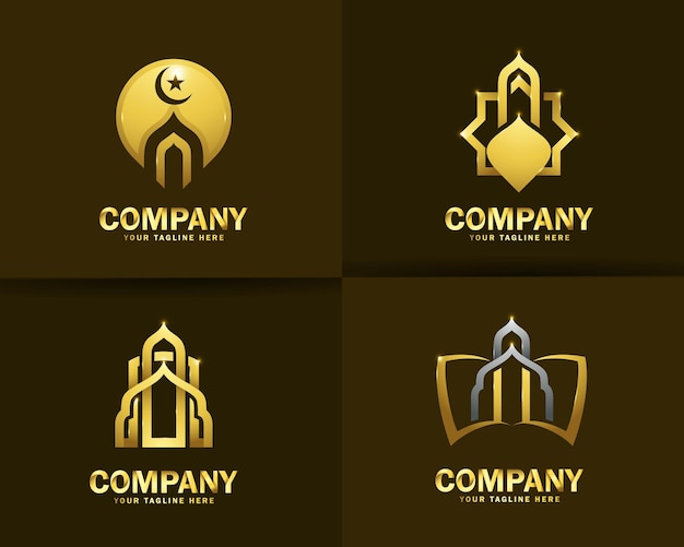イスラム教のモスクのロゴのデザインテンプレートのコレクション Premiumベクター