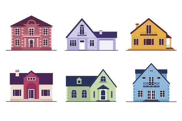 孤立した色の家のコレクション 無料ベクター