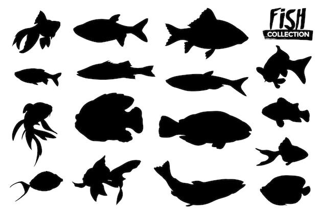 孤立した魚のシルエットのコレクション。グラフィックリソース。 Premiumベクター