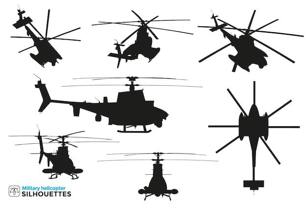 さまざまなビューでの軍事戦闘および救助ヘリコプターの孤立したシルエットのコレクション。 Premiumベクター