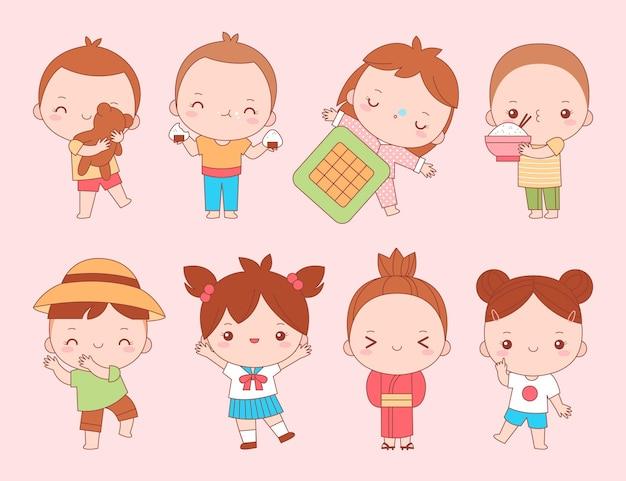 かわいい日本の子供たちのコレクション 無料ベクター