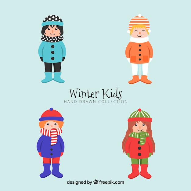 Collection of kids in warm winter clothes