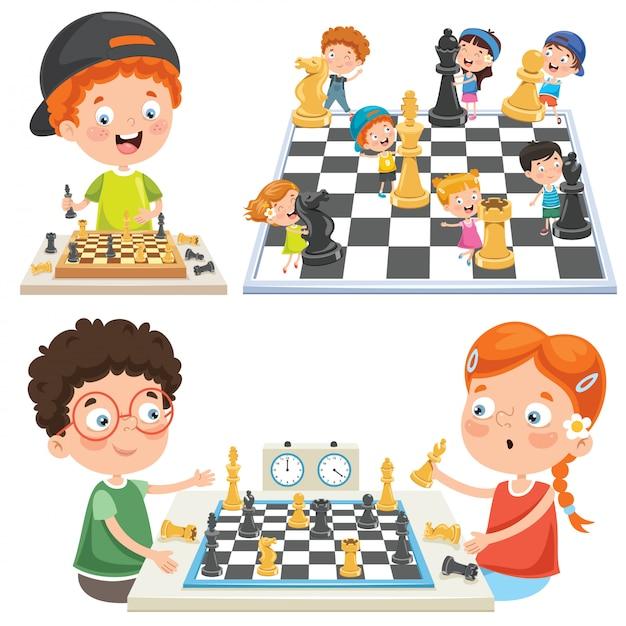 チェスをする子供たちのコレクション Premiumベクター