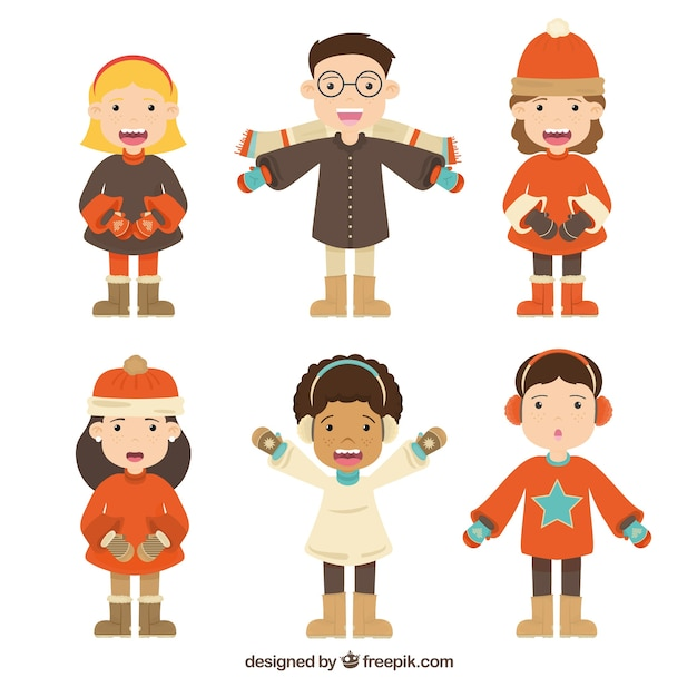 Collection of kids wearing red winter clothes