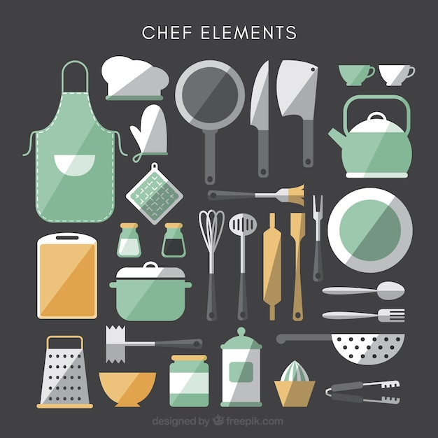 Collection Of Kitchen Elements In Flat Design Vector Free Download