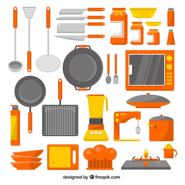 Collection of kitchen utensils in flat design vector for Kitchen design vector