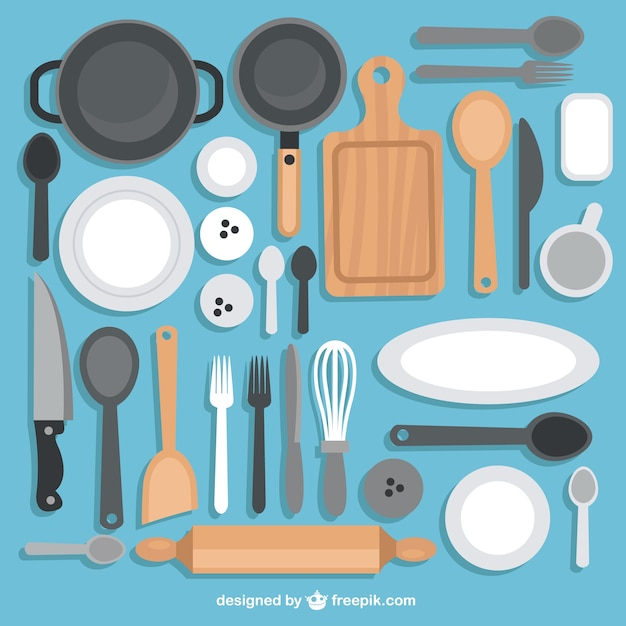 Collection of kitchen utensils vector free download - Enseres de cocina ...