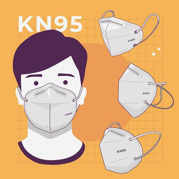 さまざまな視点でのkn95フェイスマスクのコレクション 無料ベクター