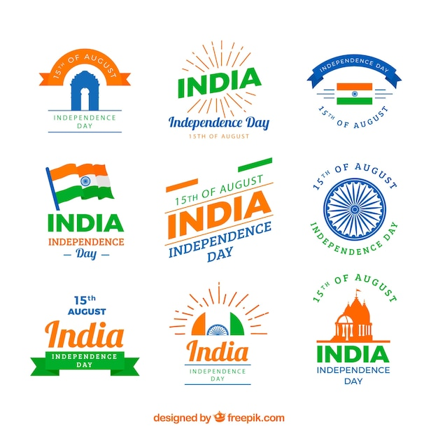 Collection of labels for indian independence day Free Vector