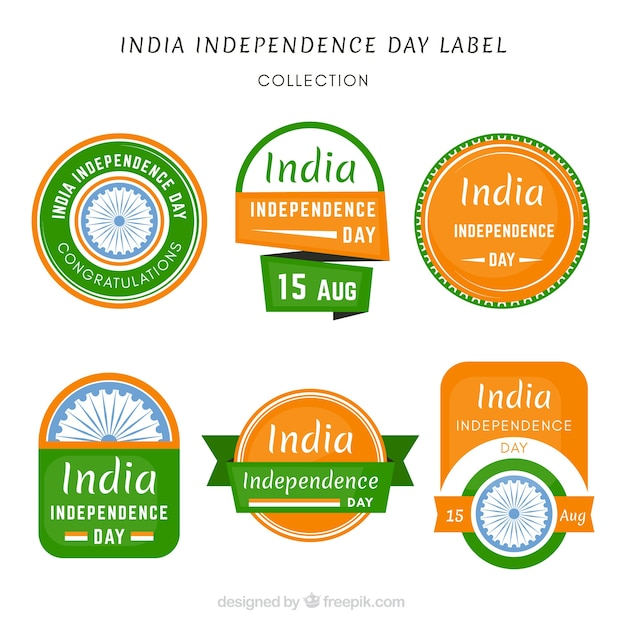 Collection of labels with indian flag's colors