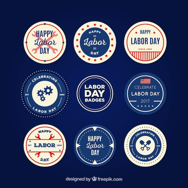 Collection of labor day stickers