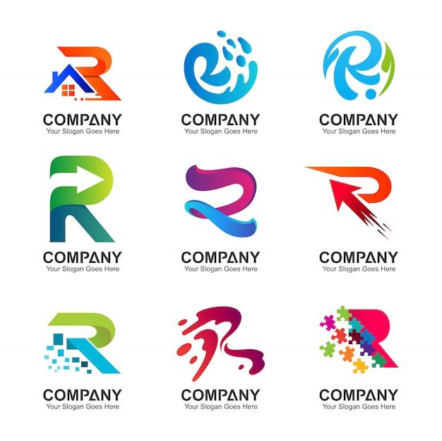 Коллекция логотипа r в различных вариантах Premium векторы