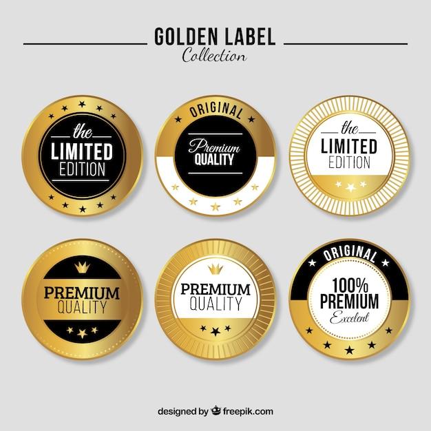 限定版ゴールデンラベルのコレクション 無料ベクター