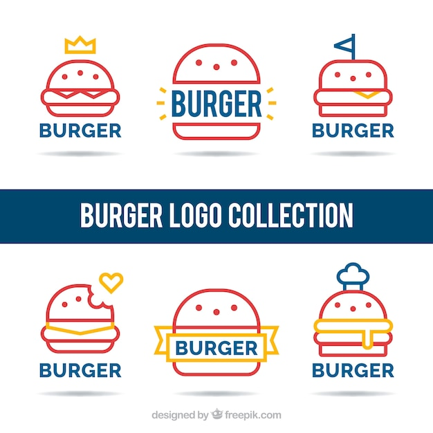 Collection of linear logos with burgers
