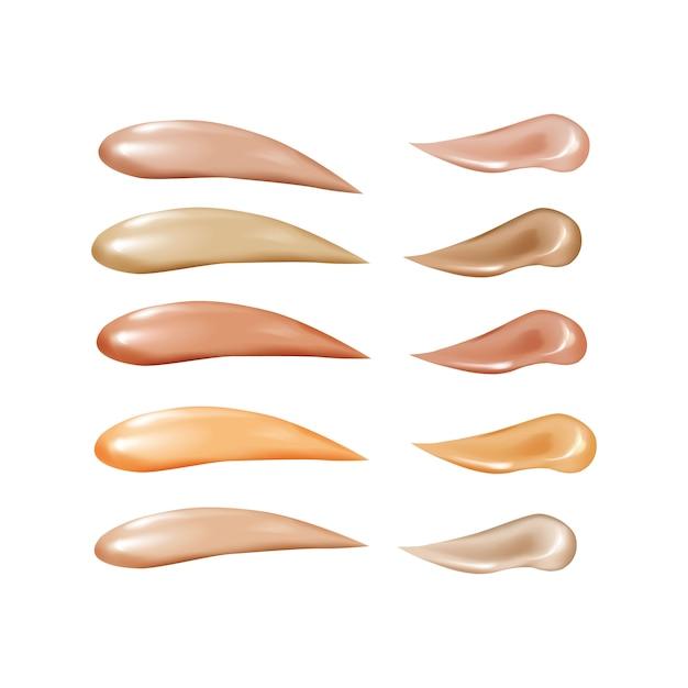 Коллекция жидкой основы, косметический консилер мазка мазки. Premium векторы