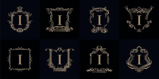 로고 이니셜 I 컬렉션 럭셔리 장식 프리미엄 벡터
