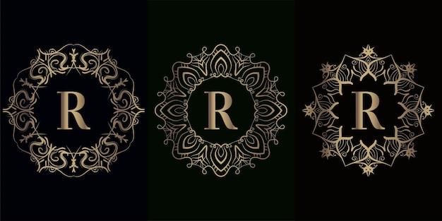 럭셔리 만다라 장식 프레임 럭셔리 만다라 장식 프레임 로고 이니셜 R 컬렉션 프리미엄 벡터