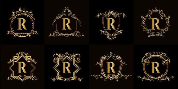 고급 장식 또는 꽃 프레임이있는 로고 이니셜 R 컬렉션 프리미엄 벡터