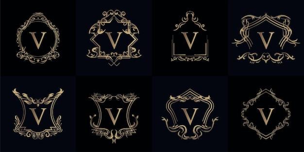 고급 장식 또는 꽃 프레임이있는 로고 이니셜 V 컬렉션 프리미엄 벡터