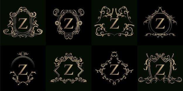 고급 장식 또는 꽃 프레임이있는 로고 이니셜 Z 컬렉션 프리미엄 벡터
