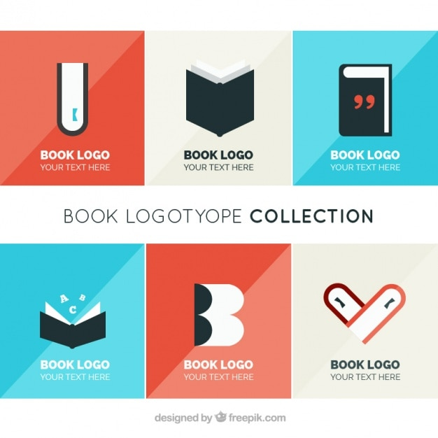 collection of logos of books in flat design vector free