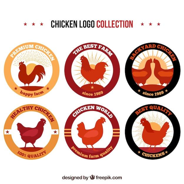 Коллекция логотипов куров в винтажном стиле Бесплатные векторы