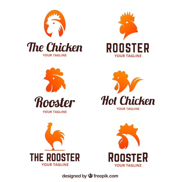 Collection of logos of roosters Free Vector