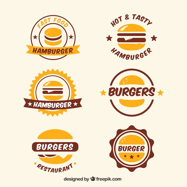 Collection of logos stickers in vintage style free vector