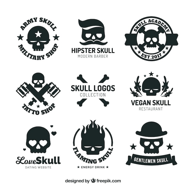 collection of logos with skulls vector free download