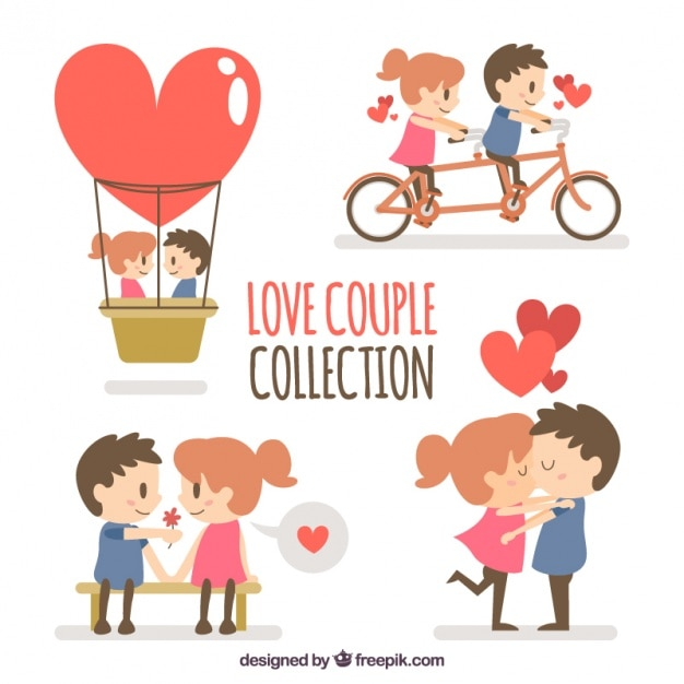Collection of lovely couple Free Vector