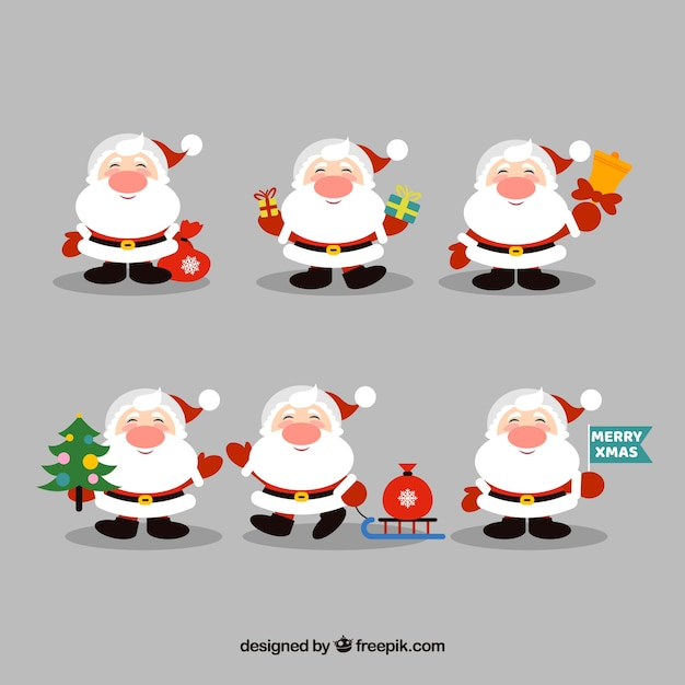 Collection of lovely santa claus characters