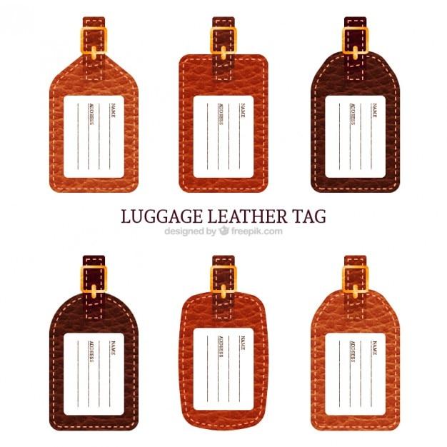 荷物の革タグのコレクション 無料ベクター