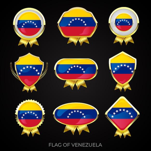 Коллекция роскошных значков с золотым флагом венесуэлы Premium векторы