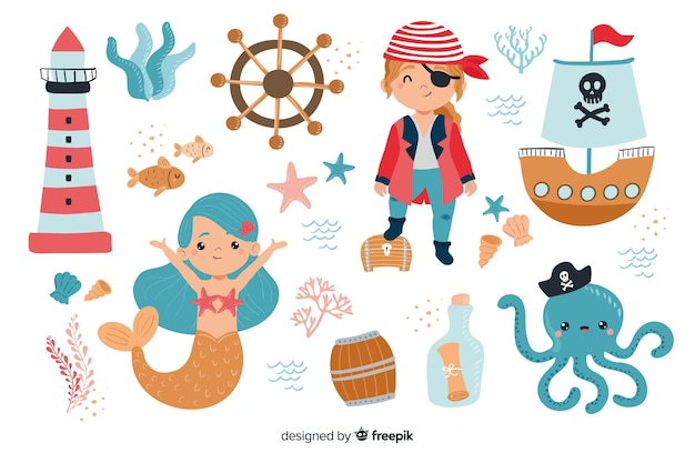 Коллекция персонажей морской жизни Бесплатные векторы
