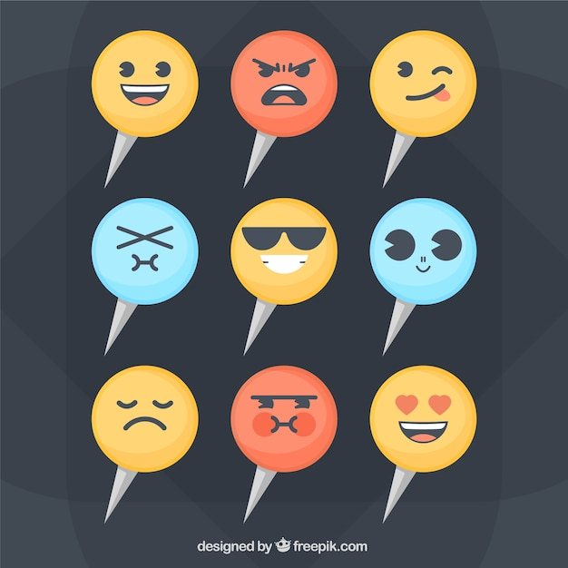 Collection of markers with funny faces Free Vector