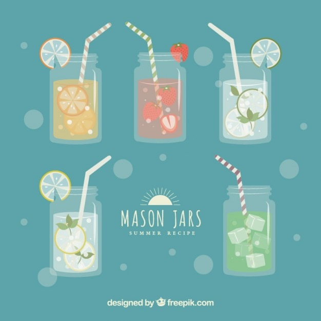 Collection of mason jars Vector | Free Download