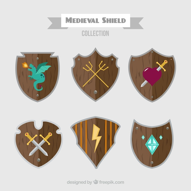 Collection of medieval wooden shields Free Vector