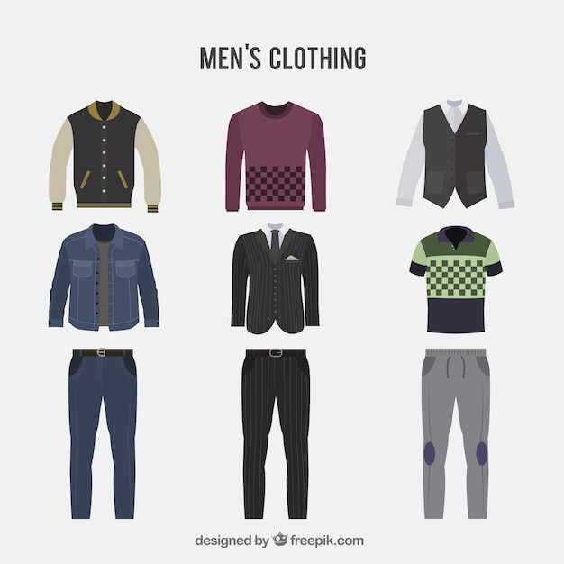 Collection of men's clothing Free Vector