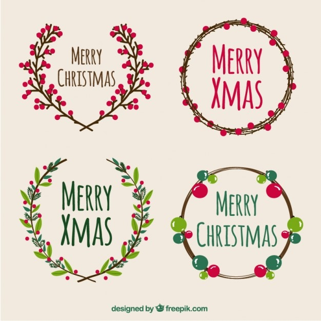 Collection of merry christmas wreaths Vector | Free Download