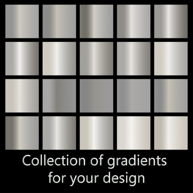 金属のグラデーションのコレクション Premiumベクター