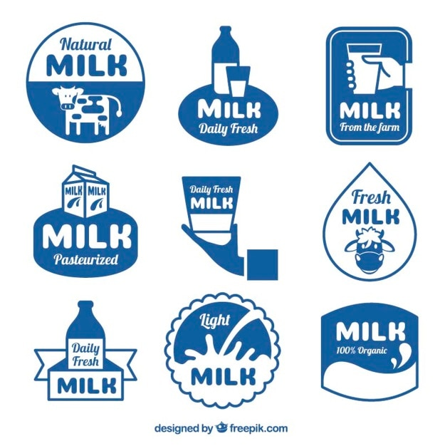 ミルクのステッカーのコレクション 無料ベクター
