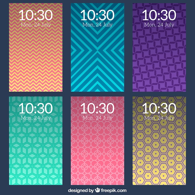 Collection of mobile wallpapers with geometric decorative shapes