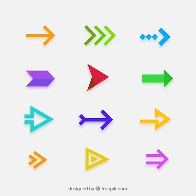 Collection of modern arrows in flat design