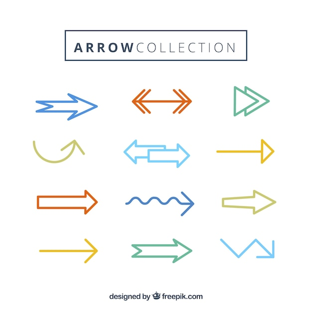 Collection of modern colored arrow