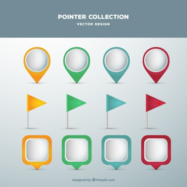 Collection of modern colored pointer in flat design