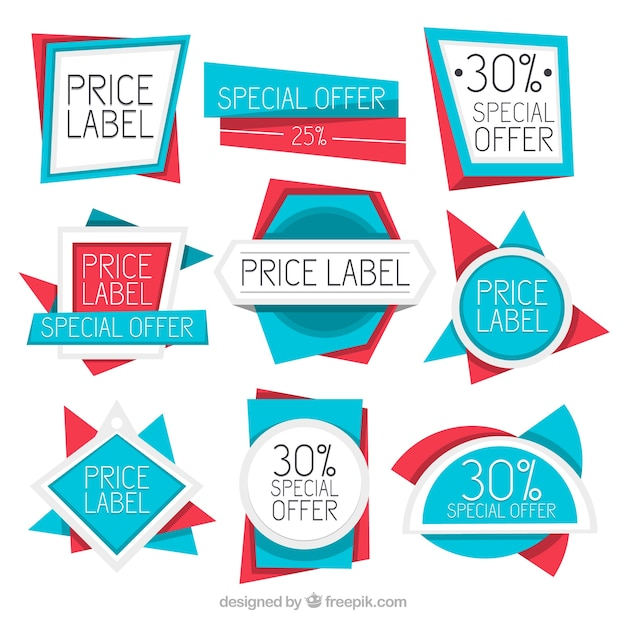 Collection of modern geometric deals stickers