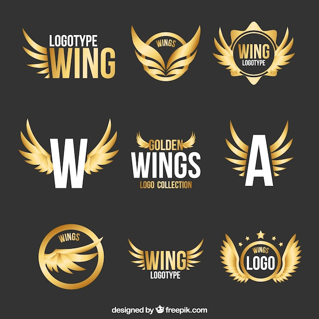 collection of modern logos of golden wings vector free