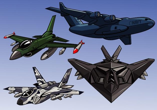 Коллекция современных военных самолетов Premium векторы